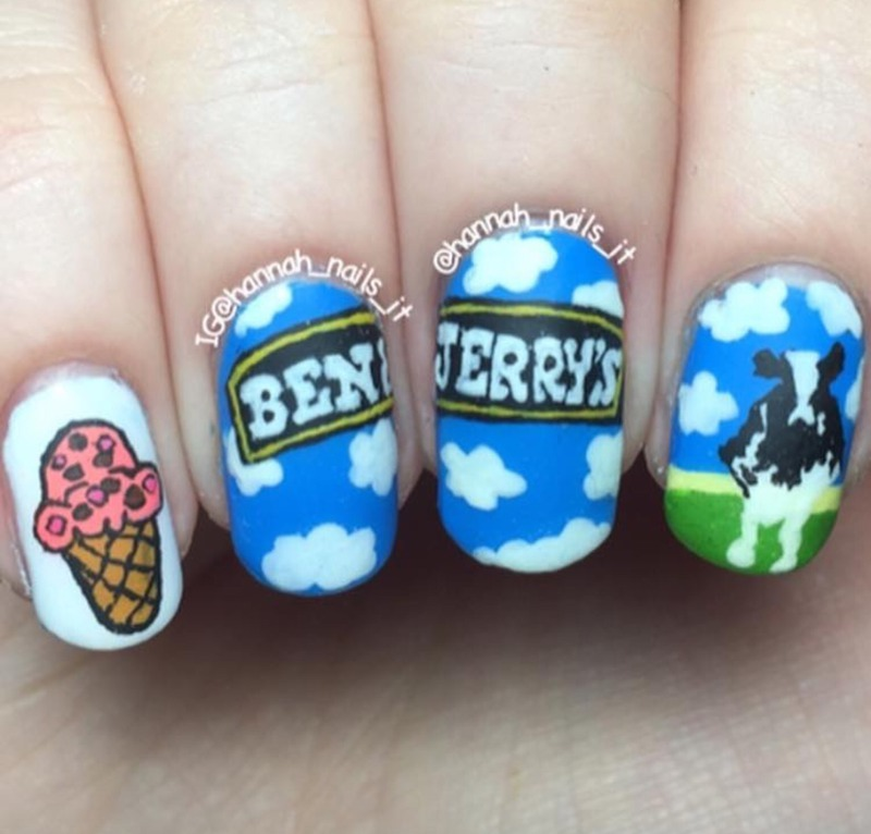 Ben and Jerry's nail art by Hannah