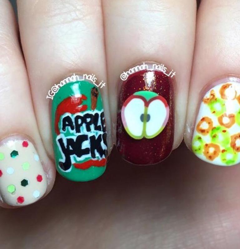Apple Jacks 🍏🍎 nail art by Hannah
