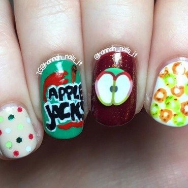 Apple Jacks 🍏🍎 nail art by Hannah