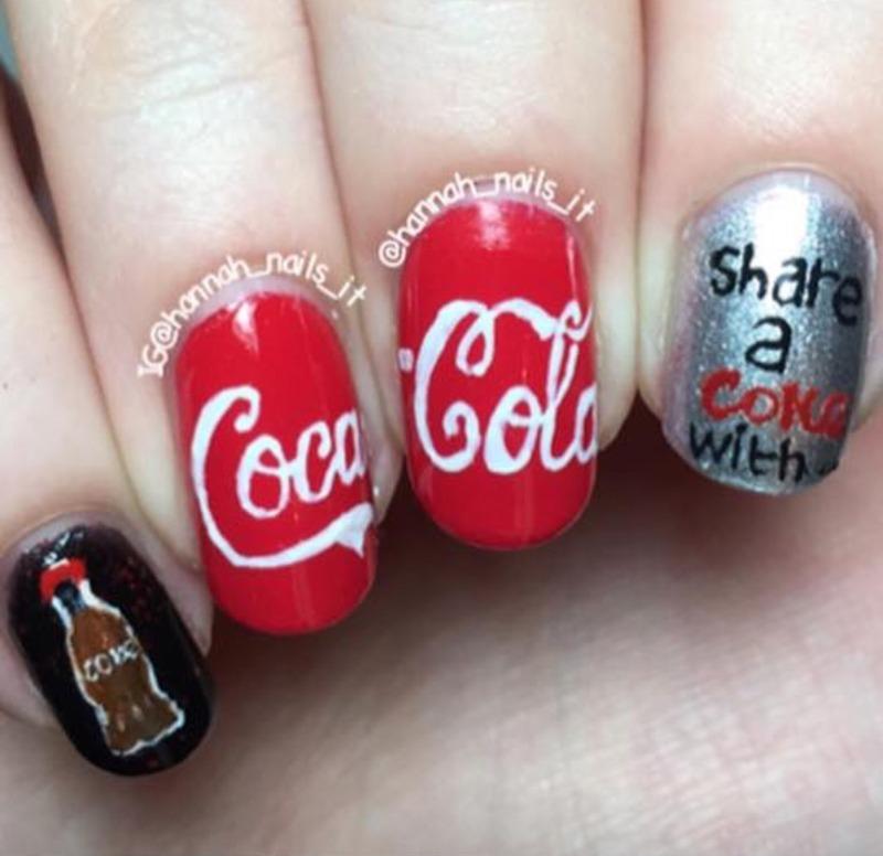 Coca Cola nail art by Hannah