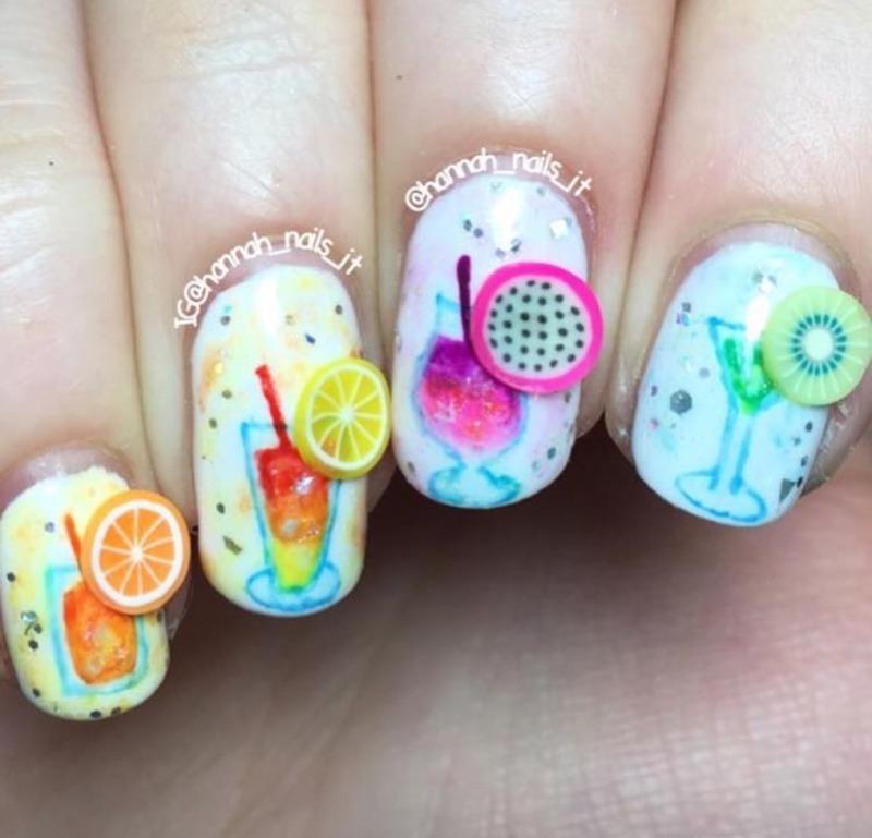 Cocktail hour 🍸 nail art by Hannah