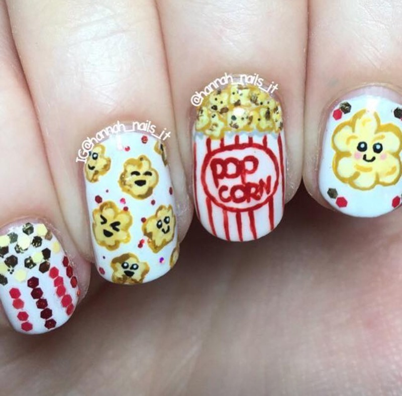 Kawaii Popcorn nail art by Hannah - Nailpolis: Museum of Nail Art