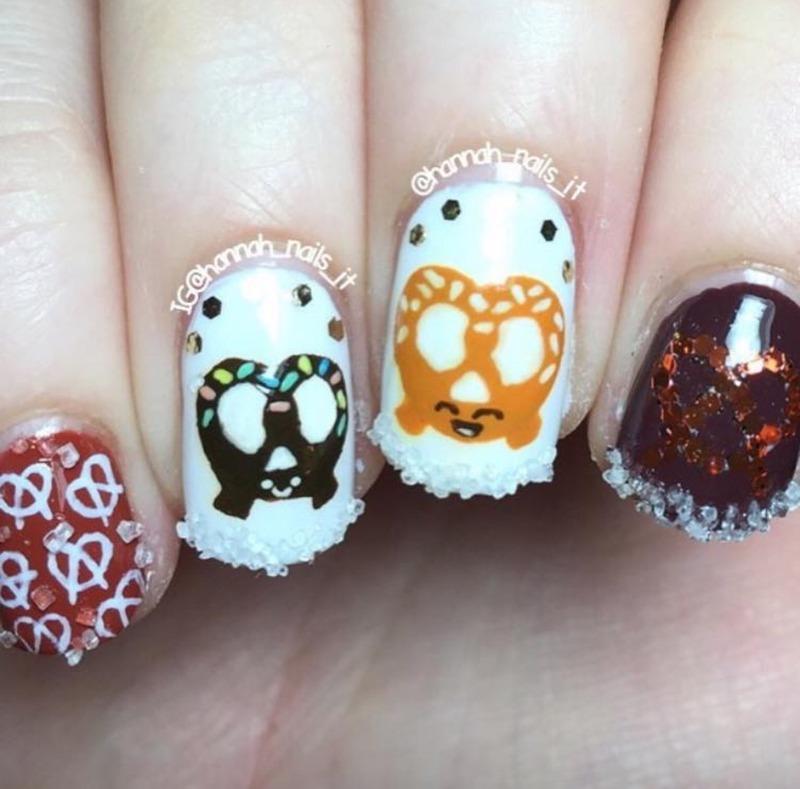 Happy Pretzels (real sugar!)  nail art by Hannah