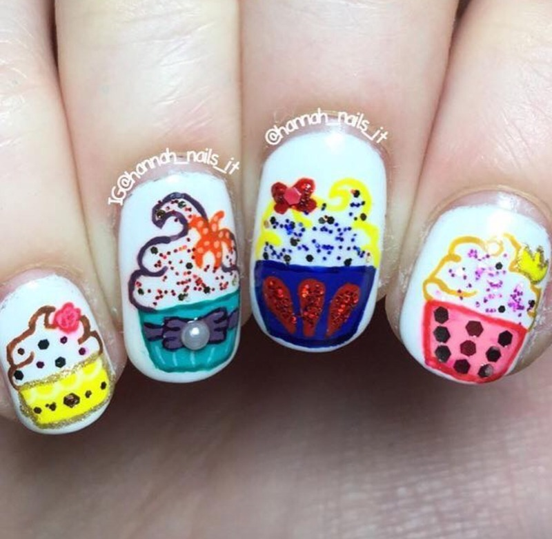 Princess Cupcakes nail art by Hannah
