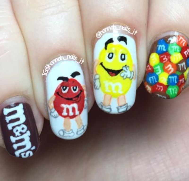 M & Ms nail art by Hannah