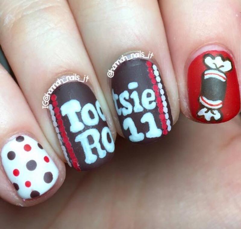 Tootsie Roll nail art by Hannah