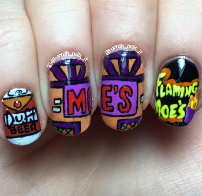 Moe's Tavern nail art by Hannah