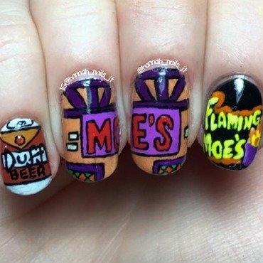 Moe's Tavern nail art by Hannah