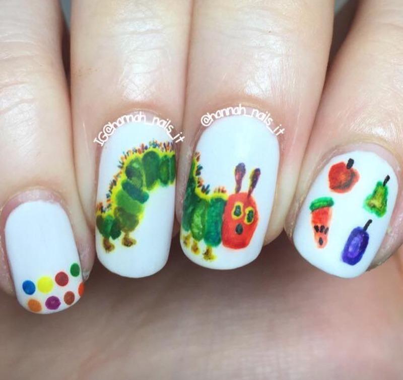 The Very Hungry Caterpillar 🐛🍎🍋🍊🍠 nail art by Hannah