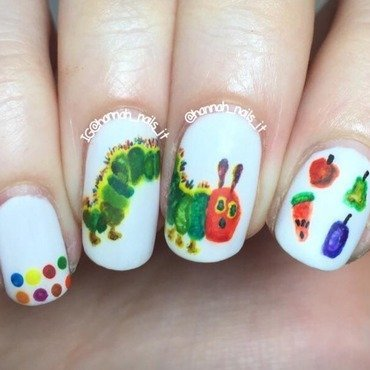 The Very Hungry Caterpillar 🐛🍎🍋🍊🍠 nail art by Hannah