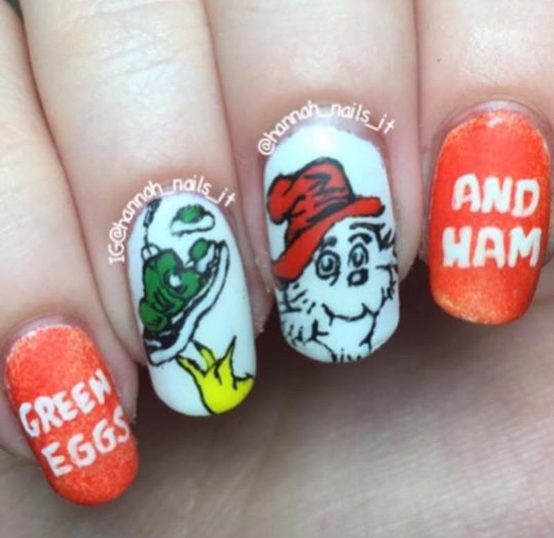 Green Eggs and Ham  nail art by Hannah