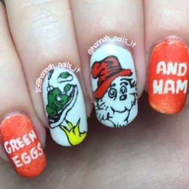 Green Eggs and Ham  nail art by Hannah