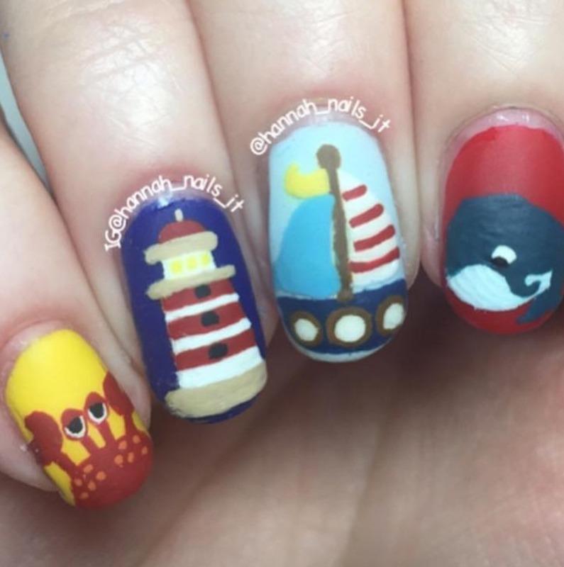 Nautical nails nail art by Hannah
