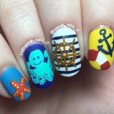 Anchor's away nail art by Hannah