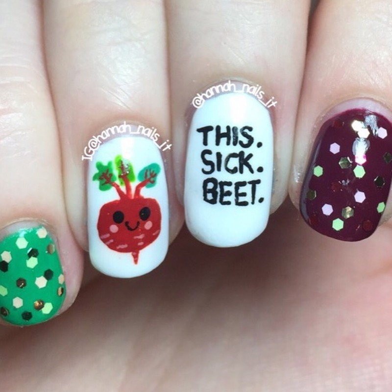 Taylor Swift/Veggie pun! nail art by Hannah