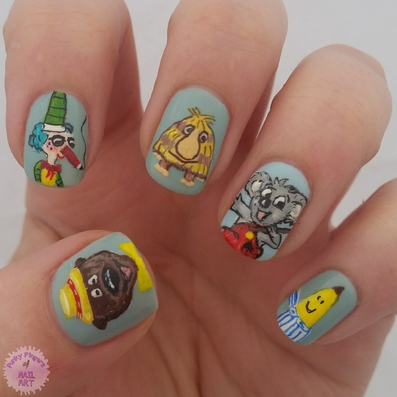 aussie kids characters nail art by Funky fingers nail art