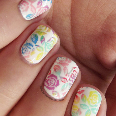 Multicolor roses nail art by Maria