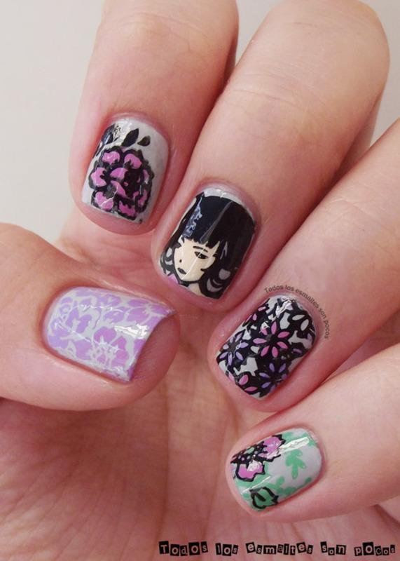 Peony girl nail art by Maria