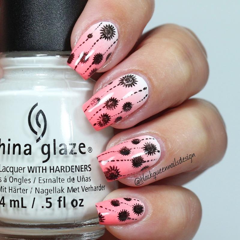 Stamping spring  nail art by Blackqueennailsdesign