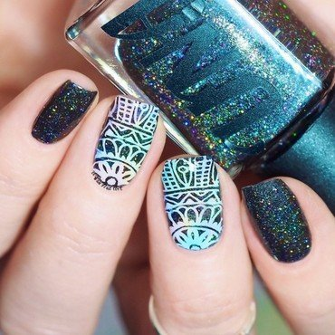 Tinted Stamping Design nail art by Lou