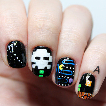 Vintage pixel games nail art by Fran Nails