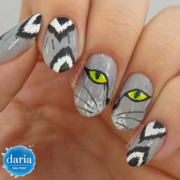 iKat Spy With my Cat Eye nail art by Daria B.