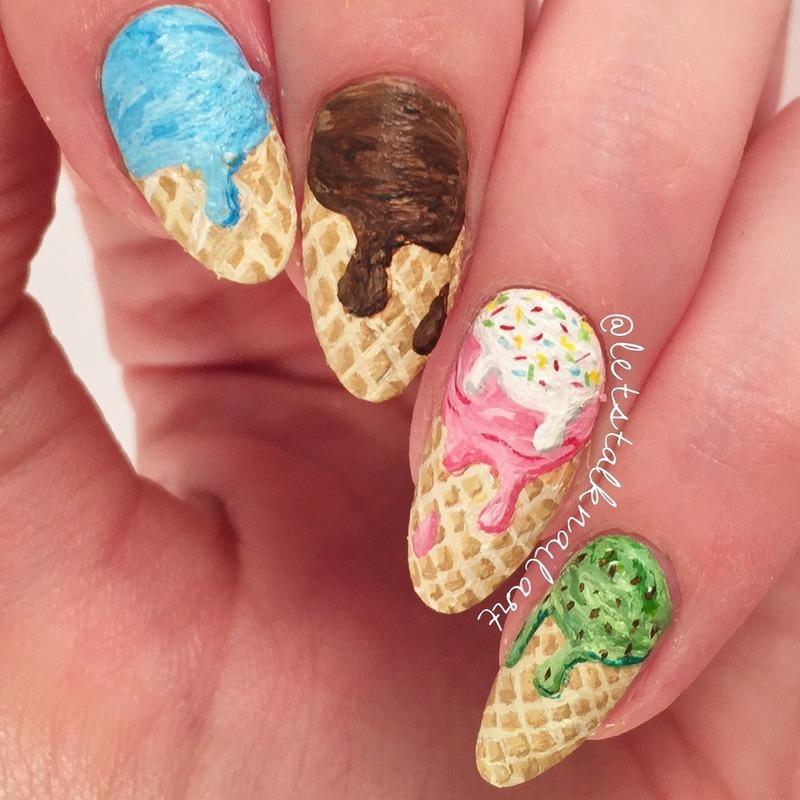 Ice Cream Cones nail art by Lottie