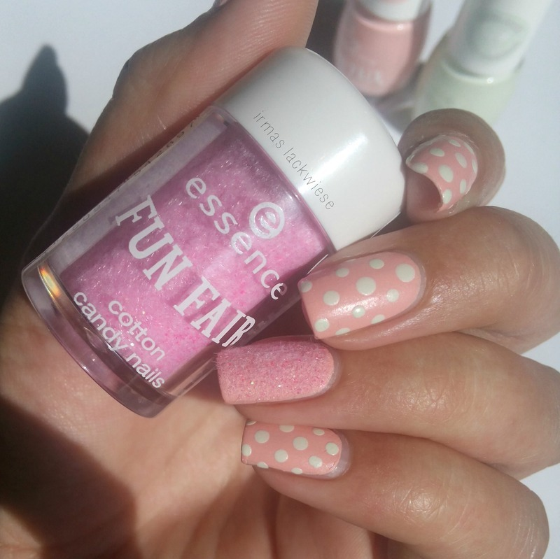 dots and cotton candy nail art by irma