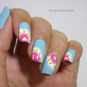 pink flower nail art by irma
