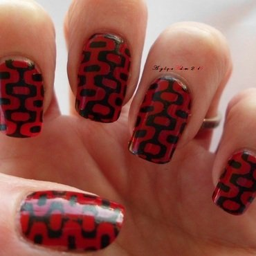 'Far Out' Black and Red  nail art by Angelique Adams