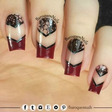 Red Lace nail art by BaroquenNails