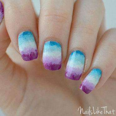 Brushstrokey gradient nails nail art by Nicole M