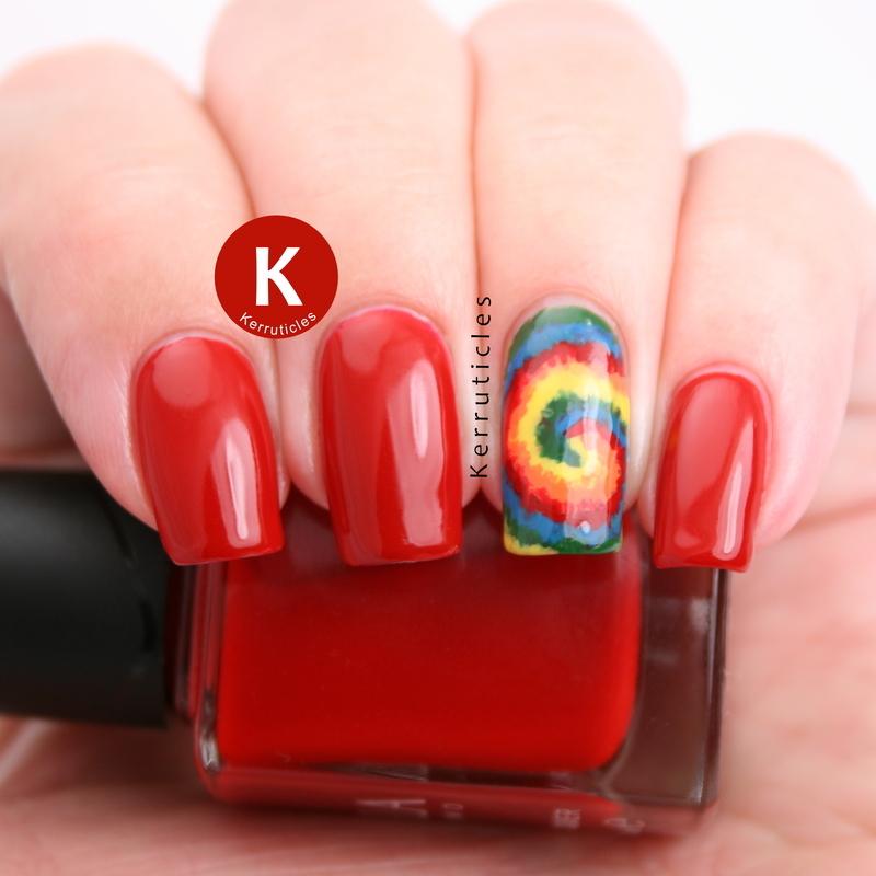 Rainbow tie dye nail art by Claire Kerr