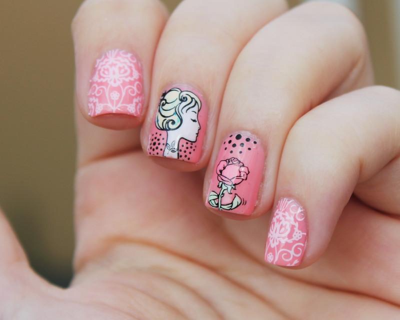 Girl and a rose nail art by Moriesnailart