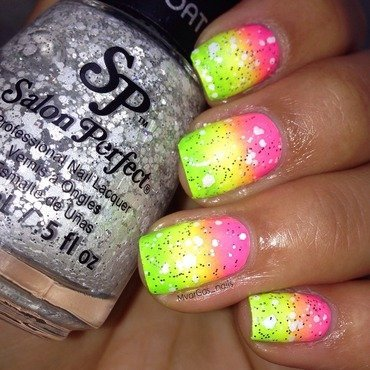 Neon bright  nail art by Massiel Pena