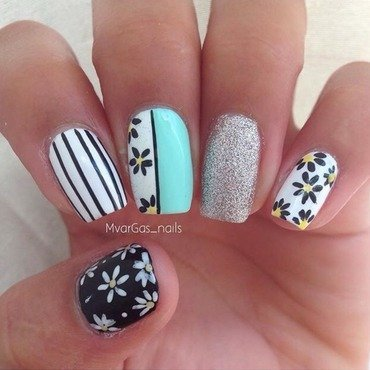 Mix and match black & white  nail art by Massiel Pena
