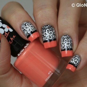 Funky Stamped French nail art by Giovanna - GioNails