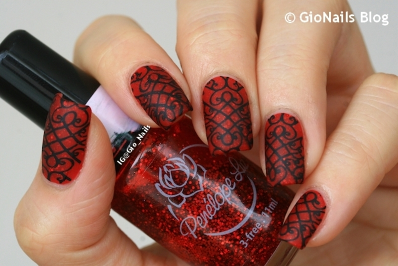 Gothic Red  nail art by Giovanna - GioNails