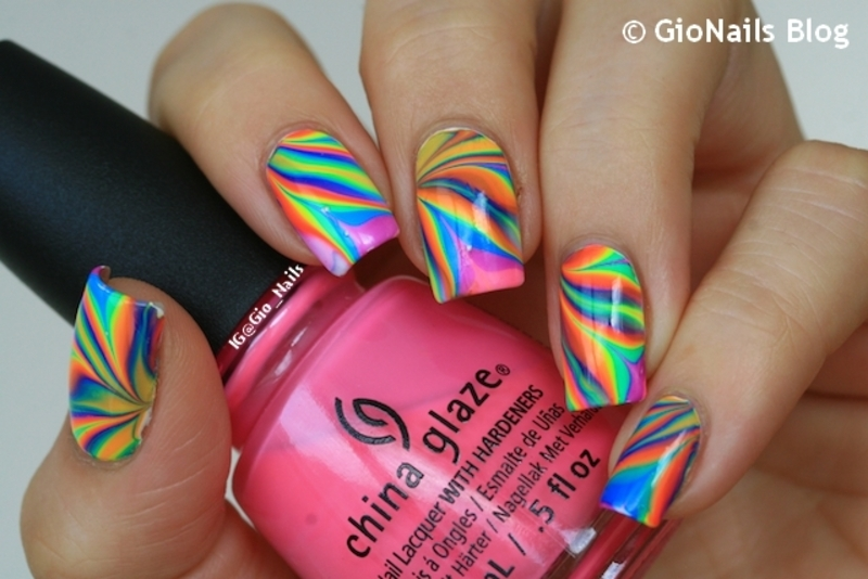 Tomorrowland 2015 Psychedelic Watermarble nail art by Giovanna - GioNails
