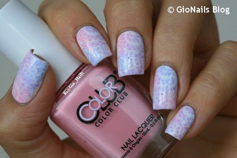 Delicate Lace Stamping nail art by Giovanna - GioNails
