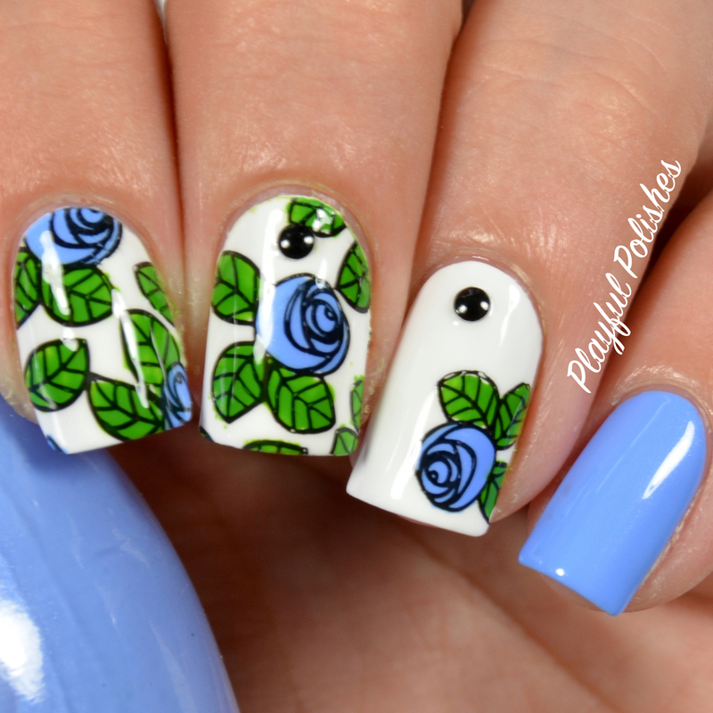 Blue Rose Advanced Stamping nail art by Playful Polishes