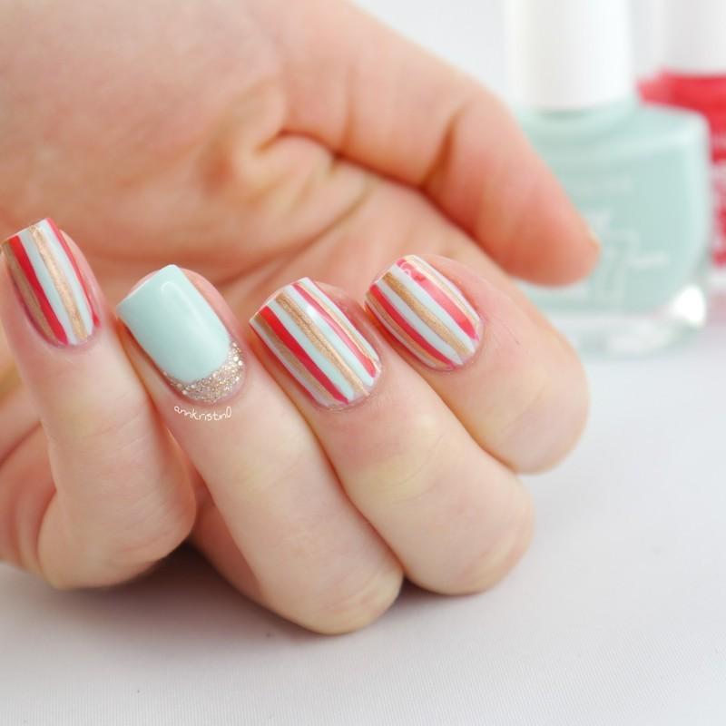 Summer Stripes nail art by Ann-Kristin