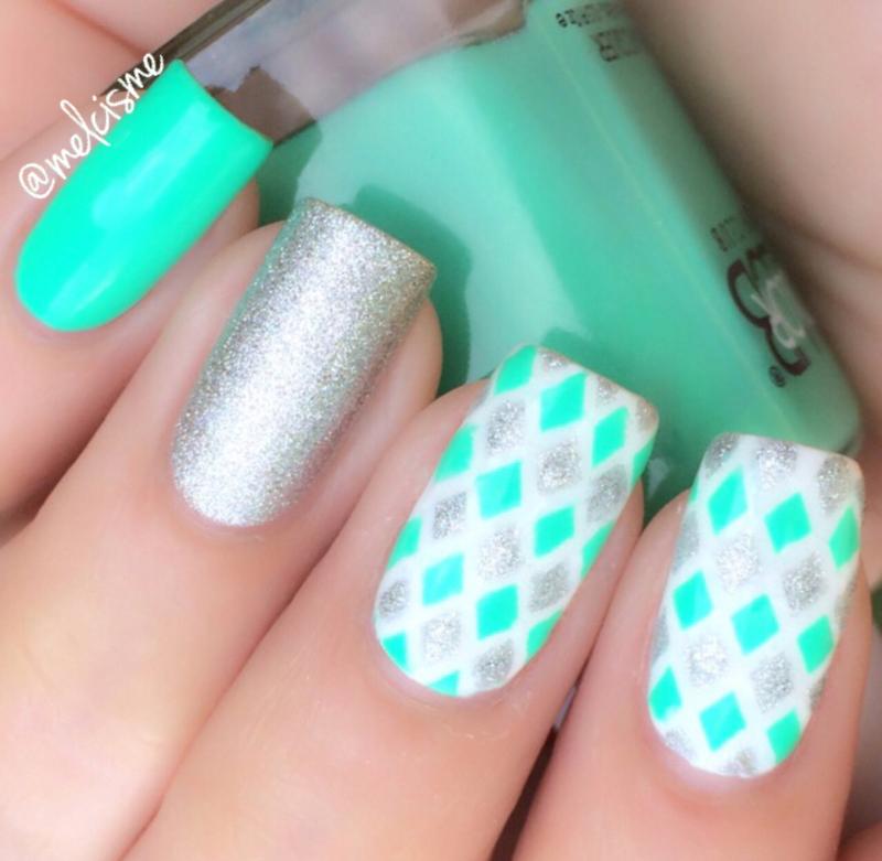 Diamond pattern nail art by Melissa