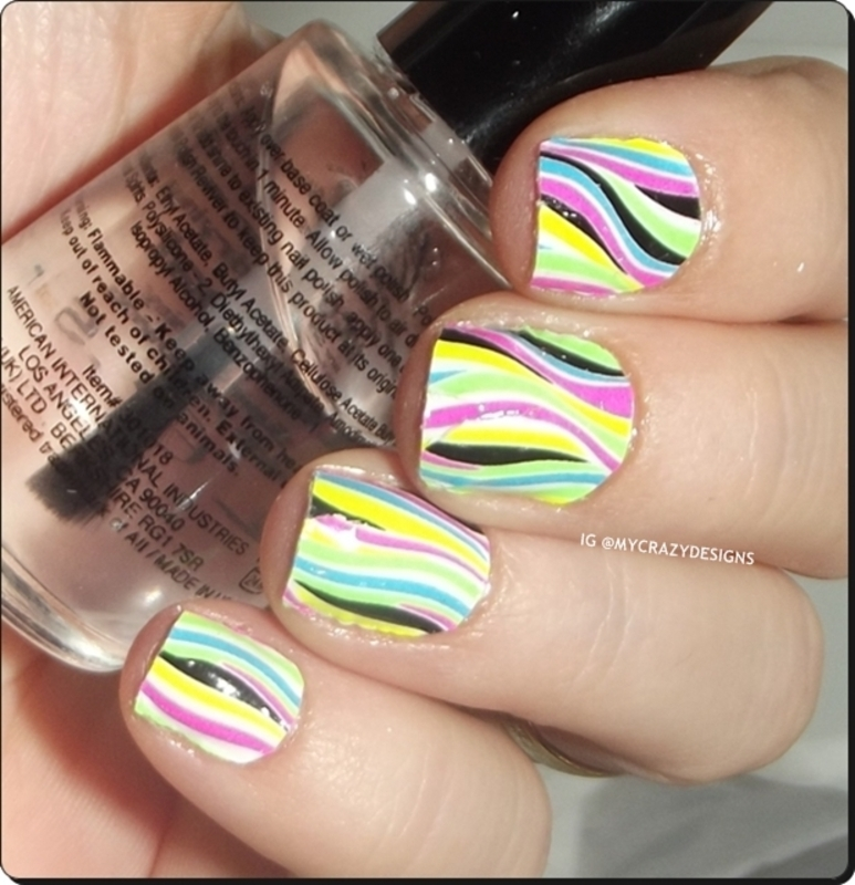 Manicure neon stickers nail art by Mycrazydesigns