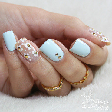 Floral Negative Space nail art by Polishisthenewblack