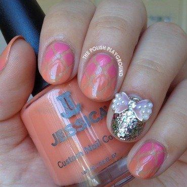 Pink and Orange Gradient Quatrefoil Nails nail art by Lisa N