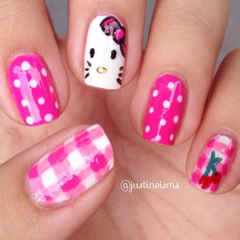 Pinky Hello Kitty nail art by ℐustine