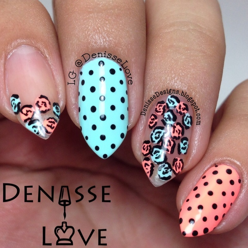 Dots & Roses nail art by Denisse Love