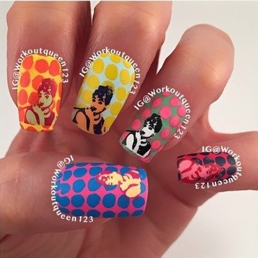 Pop Art Andy Warhol picture of Audrey Hepburn nail art by Workoutqueen123