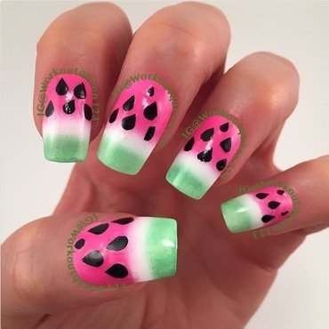Watermelon nail art by Workoutqueen123